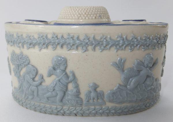 Faux Wedgwood Pottery Inkwell Cherubs