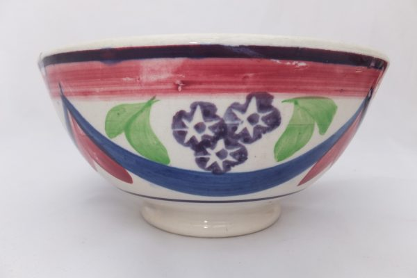 Blue & Pink Drape Spongeware Bowl