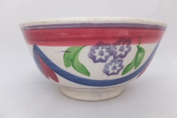 Blue & Pink Drape Spongeware Bowl No2