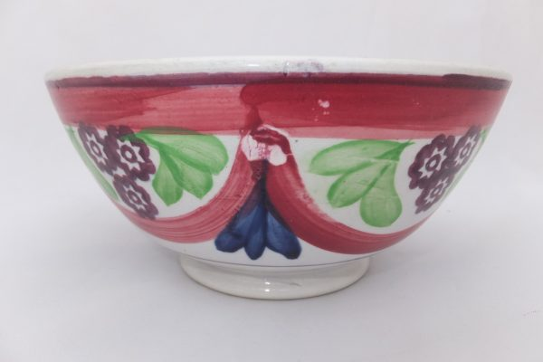 Red/pink Drape Spongeware Bowl