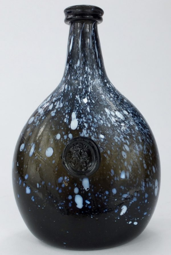 Unique Black Glass Sealed Nailsea Bottle Flask