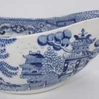 Antique Blue White Pottery Willow Pattern Pap Boat