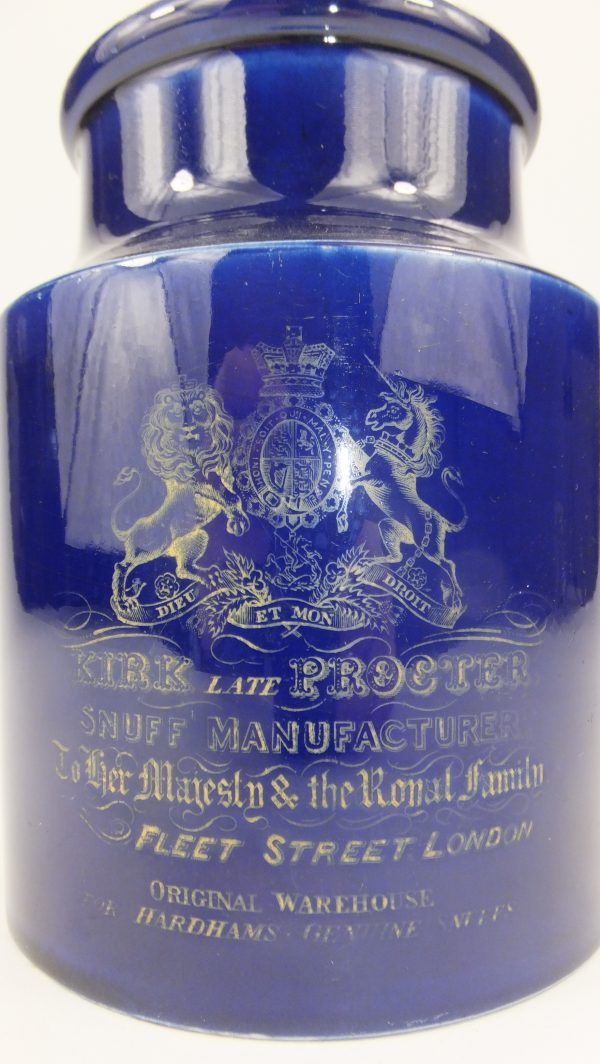 Kirk & Proctor Advertising Pottery Snuff Jar Coat Of Arms London