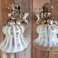 Antique Vaseline Glass Electric Lamp Shades