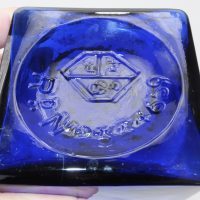 Very Rare Blue Glass Square Syrup Lug Apothecary Chemist Pharmacy Bottle