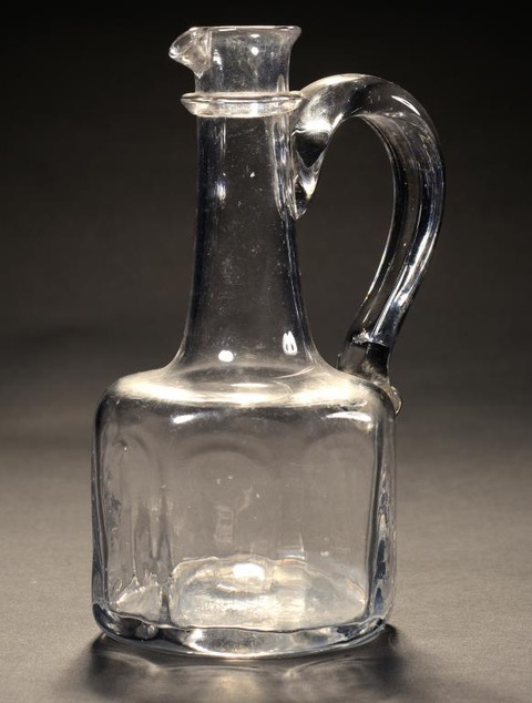 Very Rare Antique Octagonal Handled Flint Glass Decanter C1730