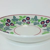 Spongeware Pottery Bowl Holly Leaves