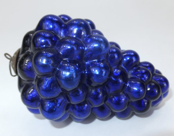 Antique Blue Glass Grape Christmas Kugel