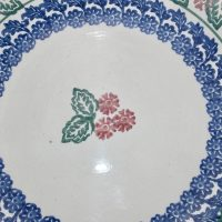Large Spongeware Pottery Bowl Holly Pattern