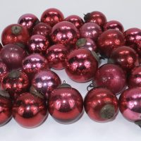 Antique Red Cranberry Glass Kugels