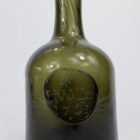 Antique Half Size Sealed Glass Mallet Wine Bottle Waller 1761