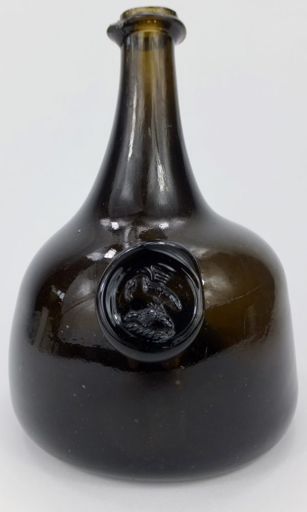 Sealed Black Glass Mallet Wine Bottle Sandford Hall Shropshire