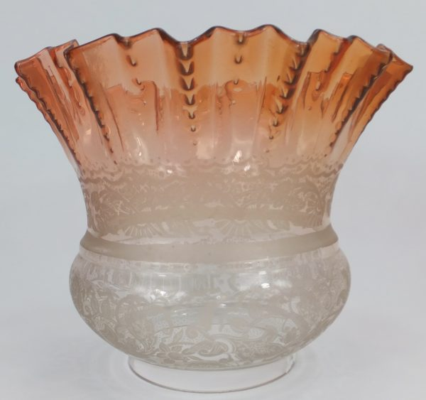 Antique Orange Etched Glass Oil Lamp Shade