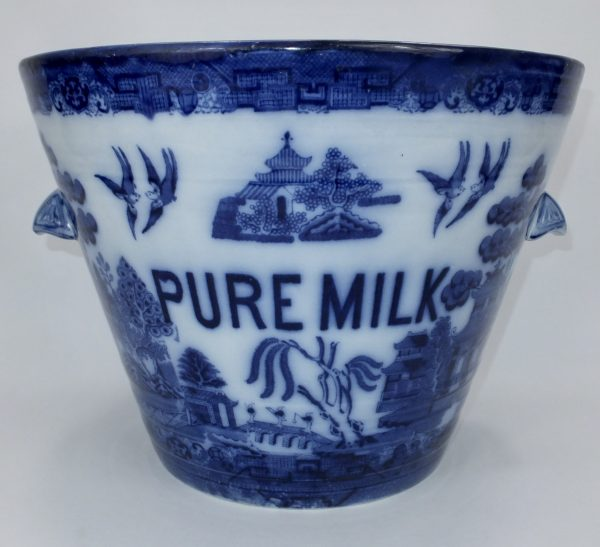 Royal Doulton Flow Blue Willow Pattern Pottery Pure Milk Pail