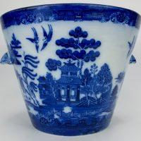 Royal Doulton Flow Blue Willow Pattern Pottery Pure Milk Pail
