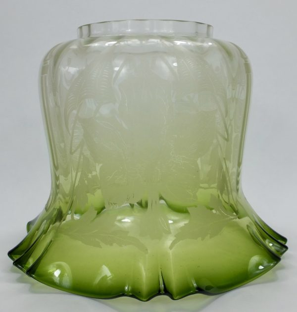 Antique Duplex Green Etched Tulip Oil Lamp Shade
