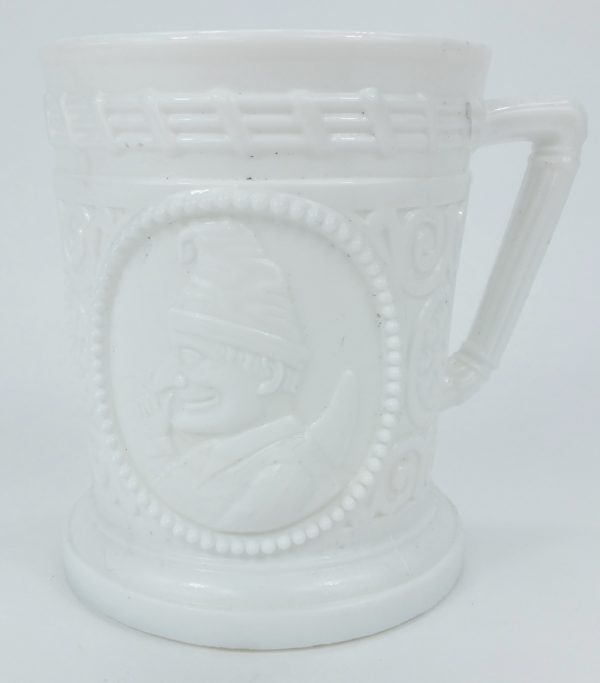 Punch & Judy Milk Glass Sowerby Davidson Mug