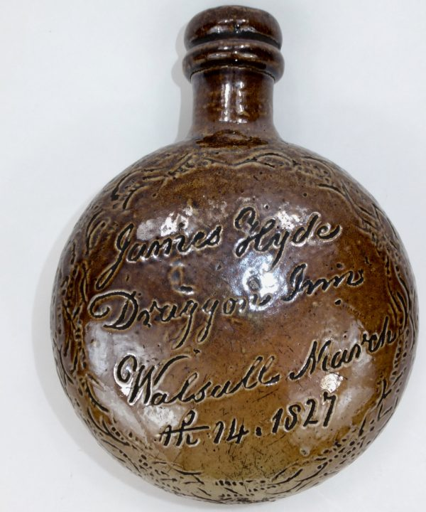 Antique Black Country Saltglaze Stoneware Flask Walsall Dragon Inn 1827