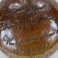 Antique Black Country Saltglaze Stoneware Flask Walsall Dragon Inn 1827