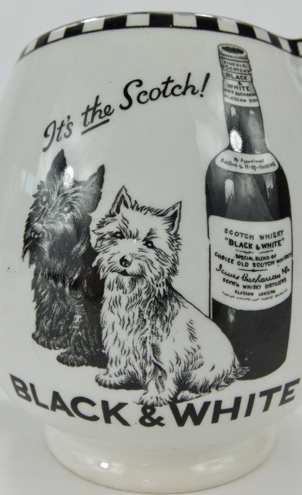 Antique Pottery Black & White Scotch Whisky Pub Jug Scotty Dogs
