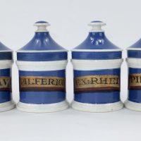 Antique Blue Pottery Drug Jars x 6