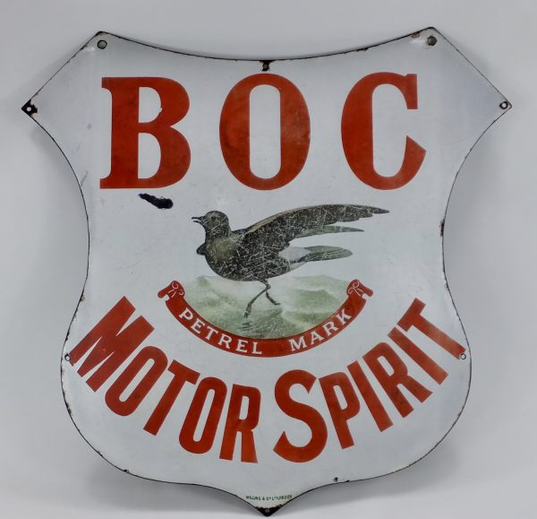 Antique Porcelain Enamel Sign Burmah Oil Company Motor Spirit
