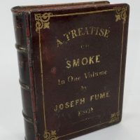 Rare Novelty Tobacco/Snuff Leather Bound Book Tin Joseph Fume