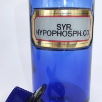 Antique Blue Glass Apothecary Bottle Syrup of Hypophosph.