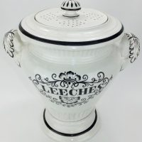 Exceptional Black & White Pottery Leeches Leech Jar