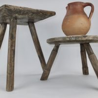 Antique Wood Milking Stool No2
