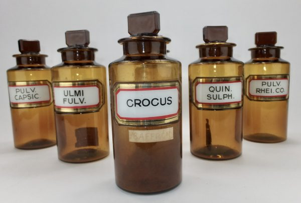 Antique Label under Glass Brown Chemist Bottles x 6