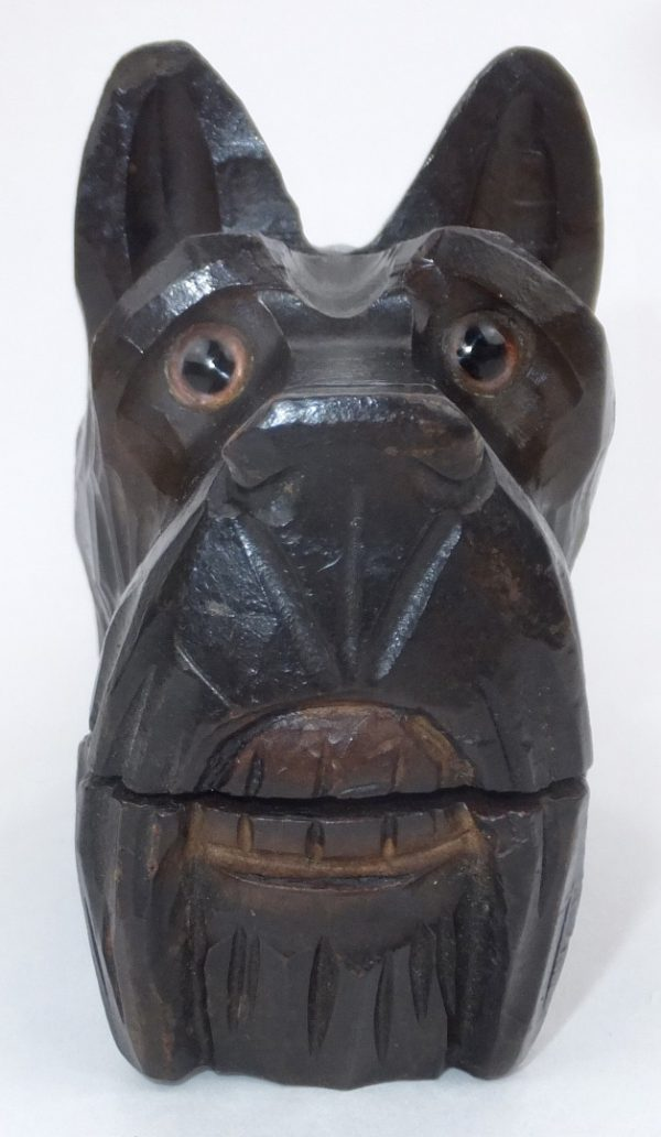 Antique Treen Wood Scottish Terrier Dog Nutcracker Nutcrackers