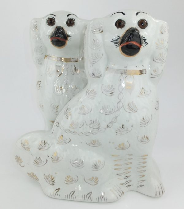 Antique Pair of Pottery Staffordshire Dogs