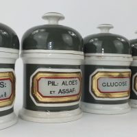 Five York Glass Company Pill Drug Jars