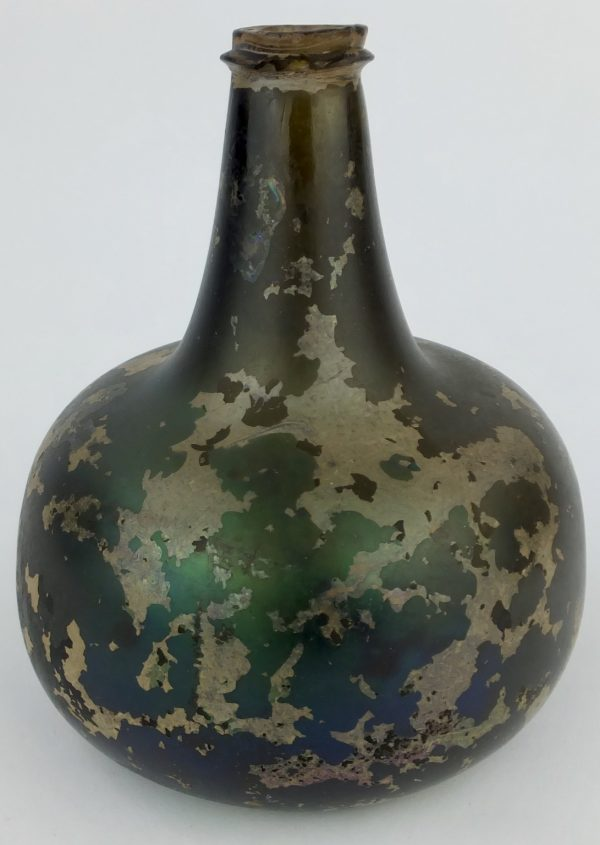 English Patinated Glass Onion Bottle C1720