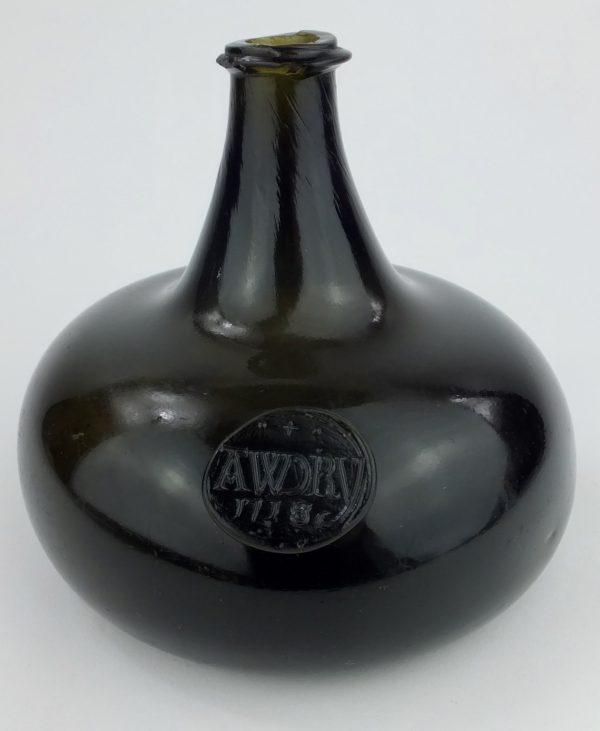 Black Glass Sealed Onion Wine Bottle AWDRY family 1718