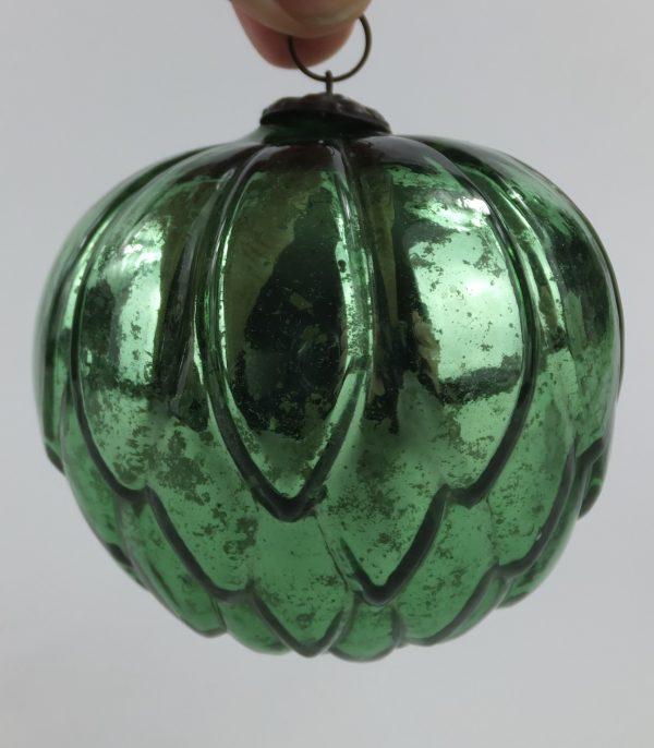 Very Rare Artichoke Green Glass Kugel
