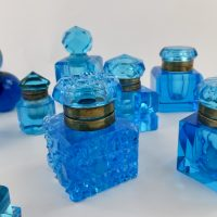 Antique Cut Glass Uranium Blue Inkwell Ink Collection Decorators Concept 1