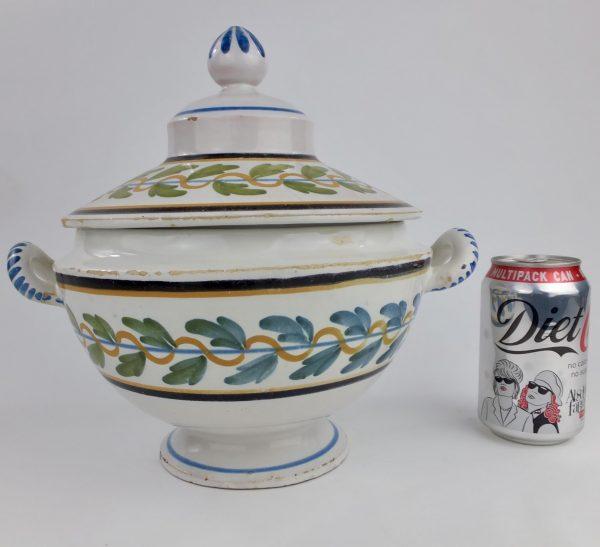 French Faience Tin Glaze Pottery Spongeware Tureen