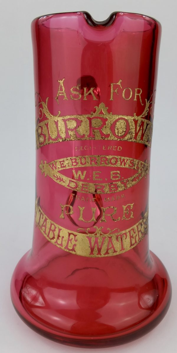 Burrows of Derby Cranberry Glass Advertising Table Waters Jug