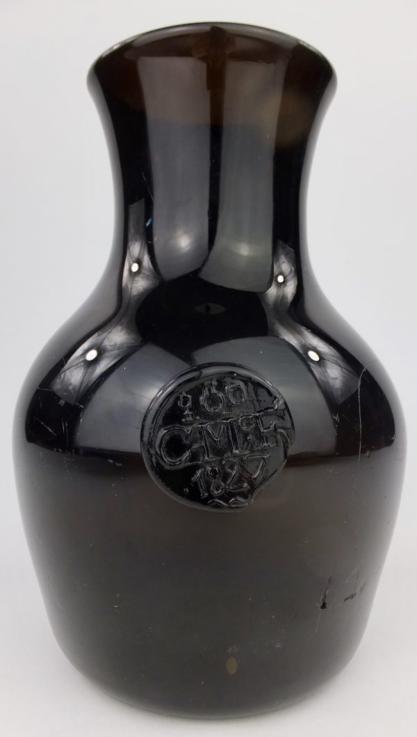 Very Rare Scottish Black Glass Sealed & Dated Ale/Wine Jug Charles Mc Farlane?
