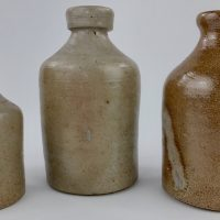 Rare Handled Saltglaze Stoneware Ink Pot