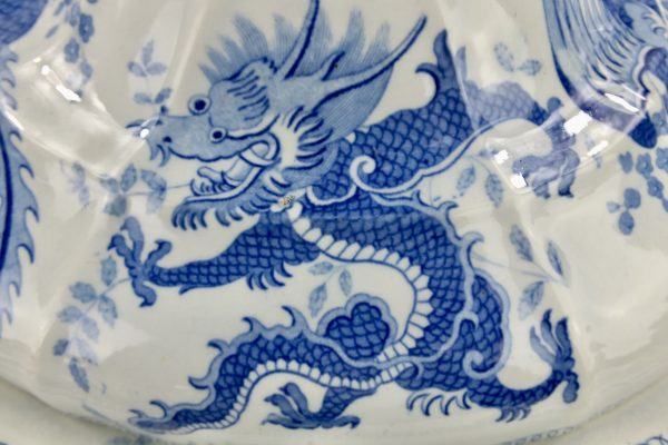 Chinese Dragon Blue & White Pottery Dinner Service