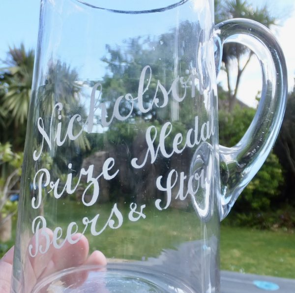Nicholsons Maidenhead Beers & Stout Glass Ale Pub Jug
