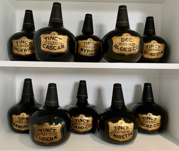 Georgian Black Glass Apothecary Chemist Onion Bottles