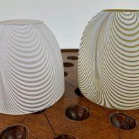 Clarkes White Nailsea Glass Stripe Dome