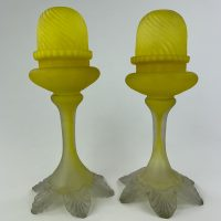 Rare Yellow Satin Glass Fairy Lamp