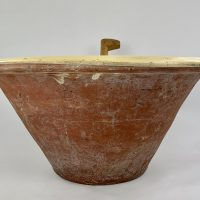 Large Terracotta Slipware Dairy Bowl