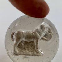 Antique Elephant Sulphide German Marble Educational Tool