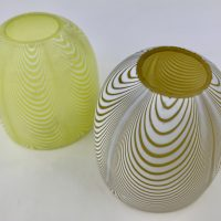 Rare Mustard Yellow Clarkes Nailsea Glass Fairy Lamp Dome